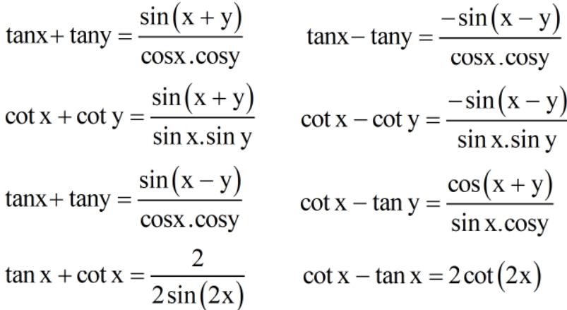 Công thức liên quan đến tổng và hiệu các giá trị lượng giác
