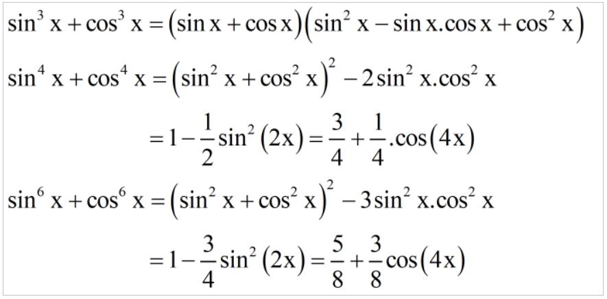 Các công thức lượng giác sử dụng biến đổi hẳng đẳng thức