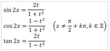 Công thức tính theo t = tan(x)